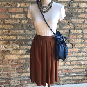 VTG Brown Pleated Knee-Length Skirt
